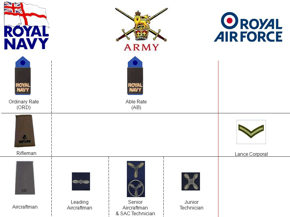 Ordinary Rate (ORD) Able Rate (AB) Rifleman Aircraftman Leading Aircraftman Senior Aircraftman & SAC Technician Junior Technician Lance Corporal