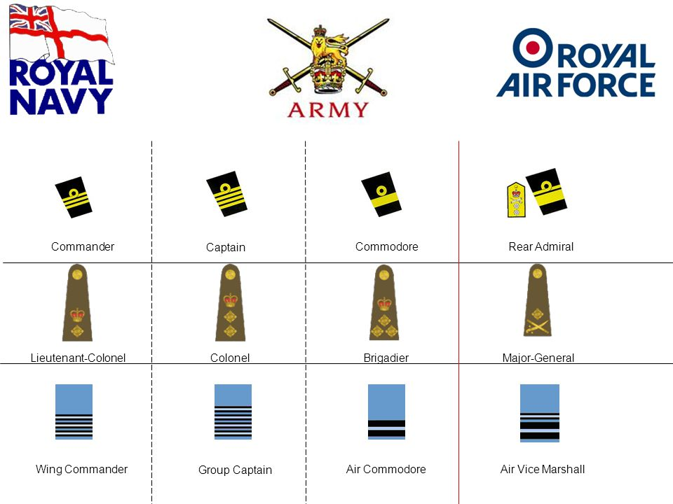 Colonel Group Captain Captain Commodore Air Commodore Brigadier Rear Admiral Lieutenant-Colonel Wing Commander Commander Major-General Air Vice Marshall