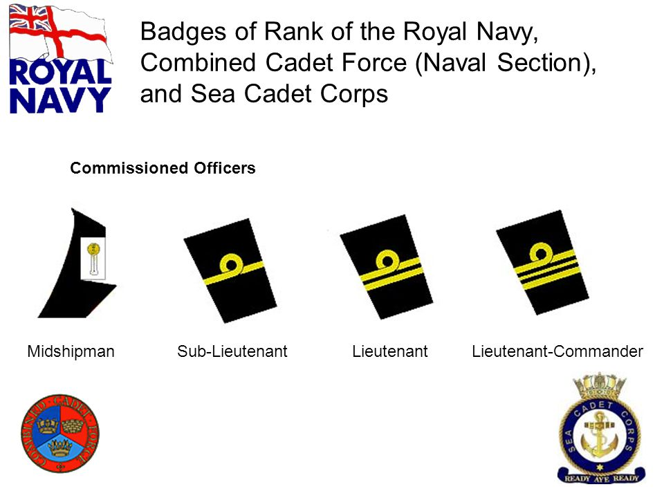 Badges of Rank of the Royal Navy, Combined Cadet Force (Naval Section), and Sea Cadet Corps MidshipmanSub-LieutenantLieutenantLieutenant-Commander Com