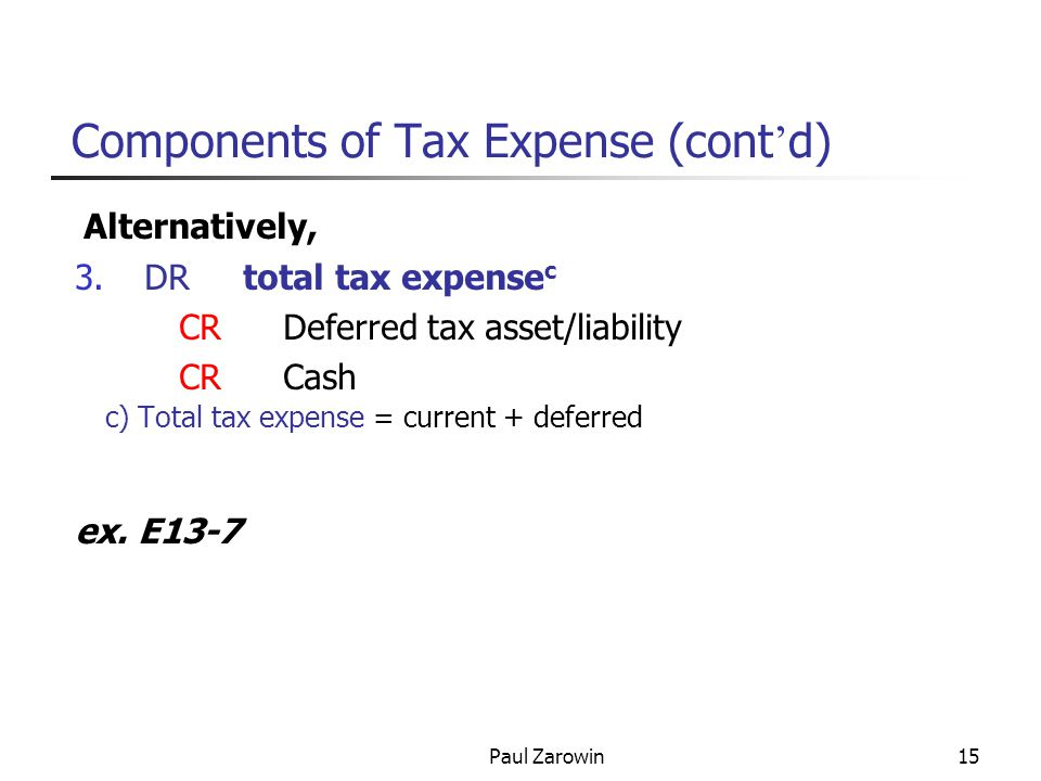 Paul Zarowin15 Components of Tax Expense (cont ' d) Alternatively, 3.DR total tax expense c CRDeferred tax asset/liability CR Cash c) Total tax expense = current + deferred ex.