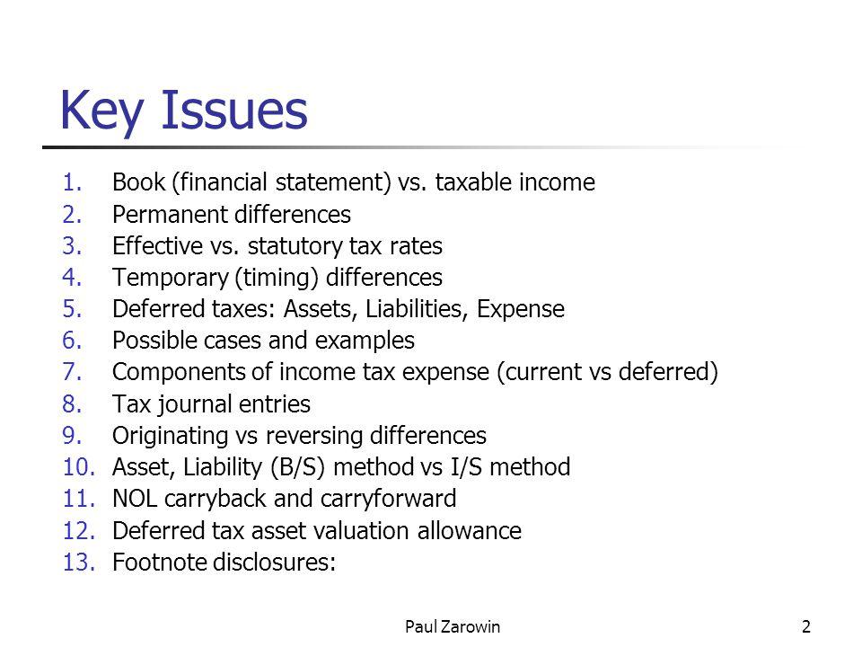 Paul Zarowin3 3 Parts of Tax Disclosure 1.Current vs.