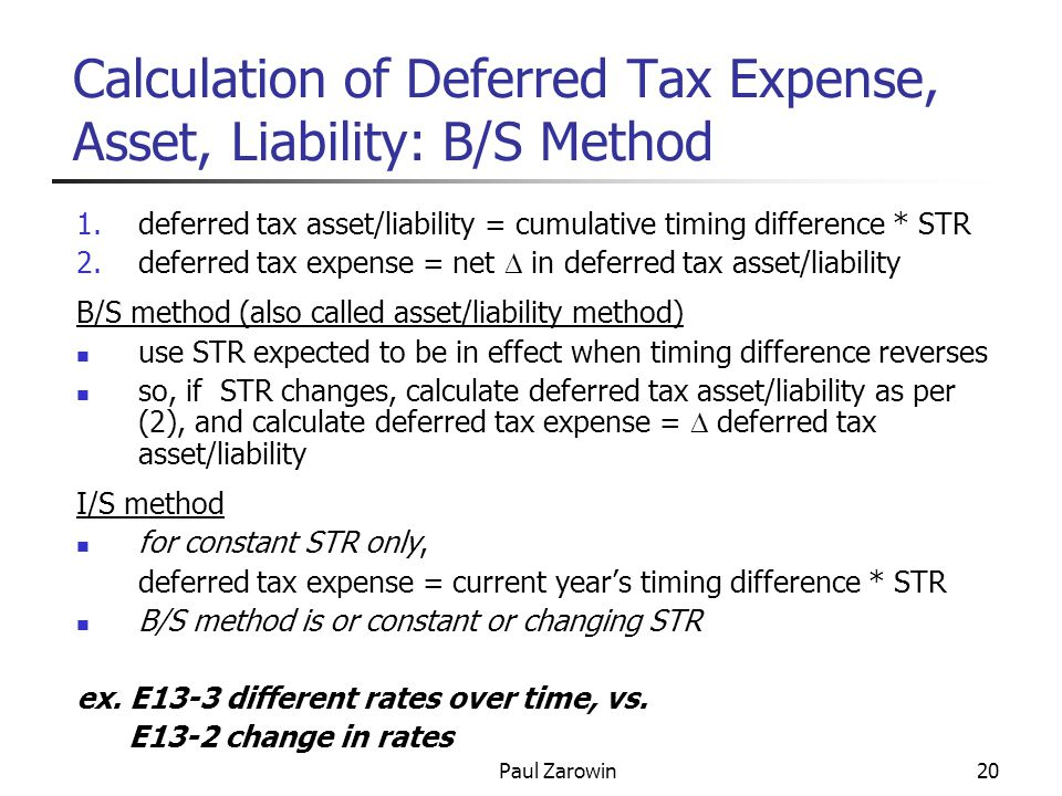 Paul Zarowin20 Calculation of Deferred Tax Expense, Asset, Liability: B/S Method 1.deferred tax asset/liability = cumulative timing difference * STR 2.deferred tax expense = net  in deferred tax asset/liability B/S method (also called asset/liability method) use STR expected to be in effect when timing difference reverses so, if STR changes, calculate deferred tax asset/liability as per (2), and calculate deferred tax expense =  deferred tax asset/liability I/S method for constant STR only, deferred tax expense = current year's timing difference * STR B/S method is or constant or changing STR ex.