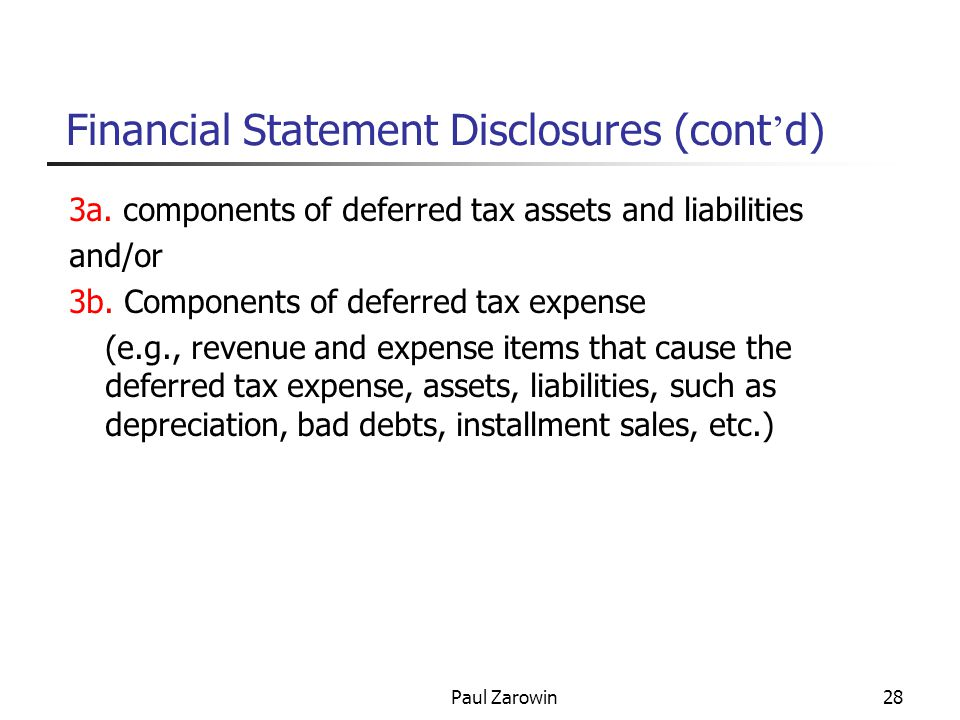 Paul Zarowin28 Financial Statement Disclosures (cont ' d) 3a.