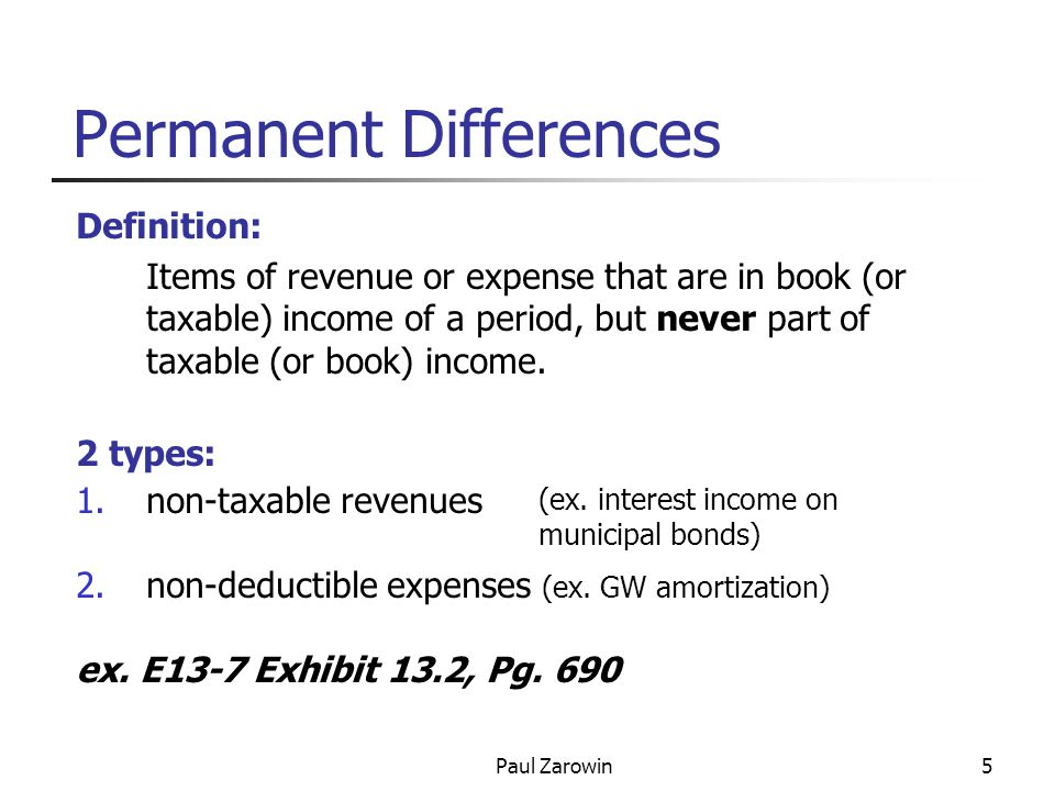 Paul Zarowin16 Deferred Tax Accounting = Inter-period Tax Allocation T otal income tax expense = Current (paid now) +Deferred (paid both before or after)