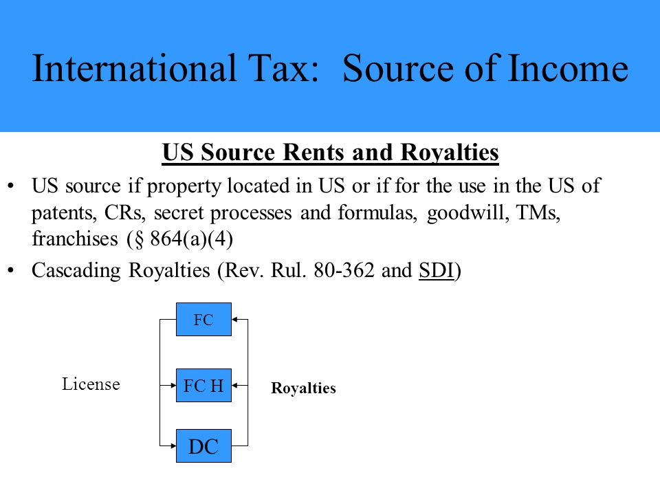 International Tax: Source of Income US Source Rents and Royalties US source if property located in US or if for the use in the US of patents, CRs, secret processes and formulas, goodwill, TMs, franchises (§ 864(a)(4) Cascading Royalties (Rev.
