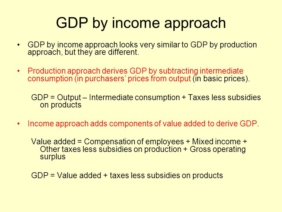 GDP by income approach GDP by income approach looks very similar to GDP by production approach, but they are different. Production approach derives GD
