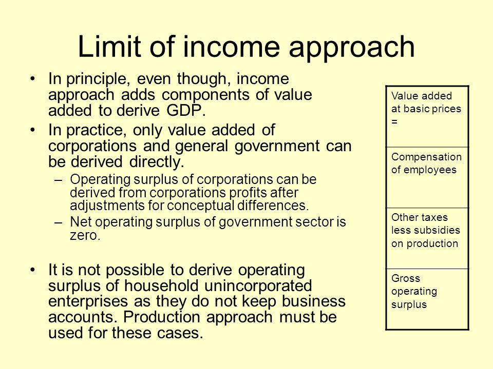 Limit of income approach In principle, even though, income approach adds components of value added to derive GDP. In practice, only value added of cor