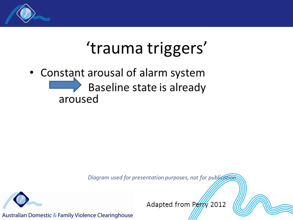 'trauma triggers' Constant arousal of alarm system Baseline state is already aroused Diagram used for presentation purposes, not for publication Adapted from Perry 2012