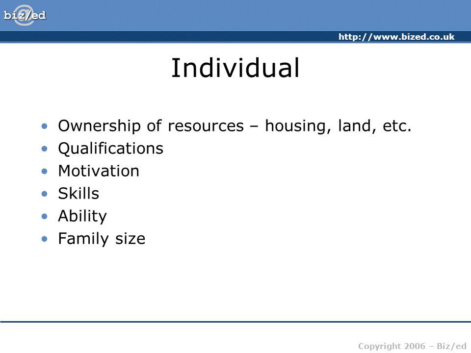 http://www.bized.co.uk Copyright 2006 – Biz/ed Individual Ownership of resources – housing, land, etc. Qualifications Motivation Skills Ability Family