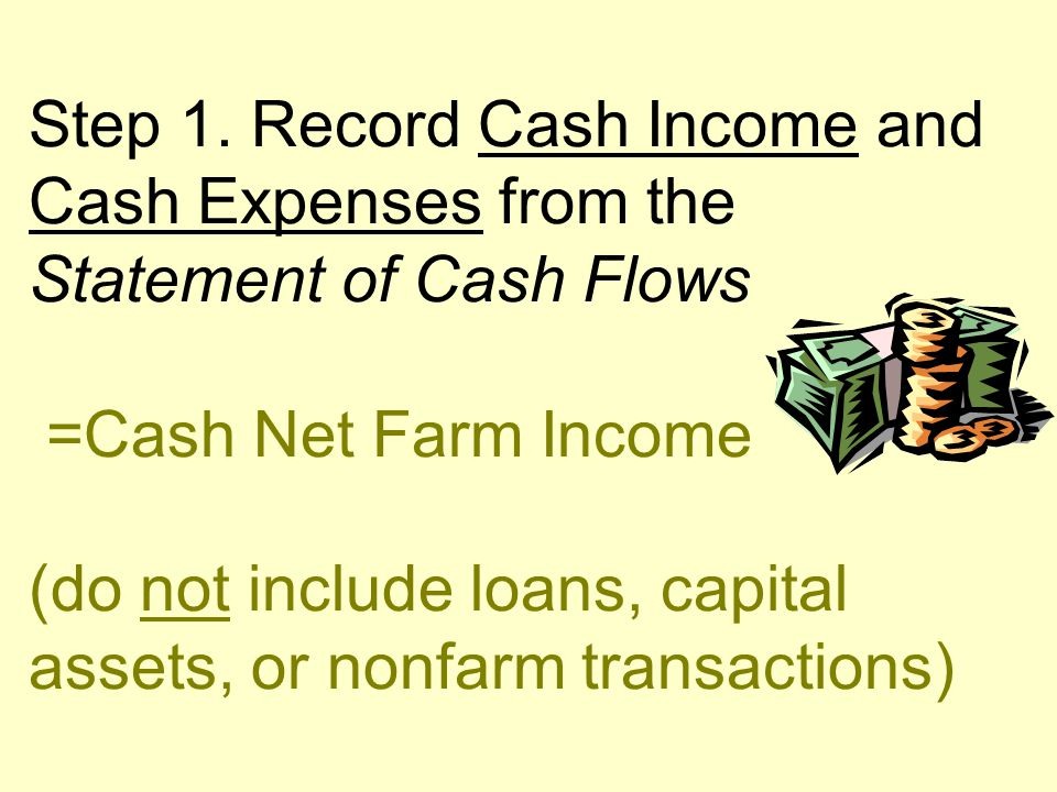 Step 1. Record Cash Income and Cash Expenses from the Statement of Cash Flows =Cash Net Farm Income (do not include loans, capital assets, or nonfarm