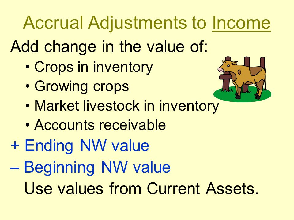 Accrual Adjustments to Income Add change in the value of: Crops in inventory Growing crops Market livestock in inventory Accounts receivable + Ending NW value – Beginning NW value Use values from Current Assets.
