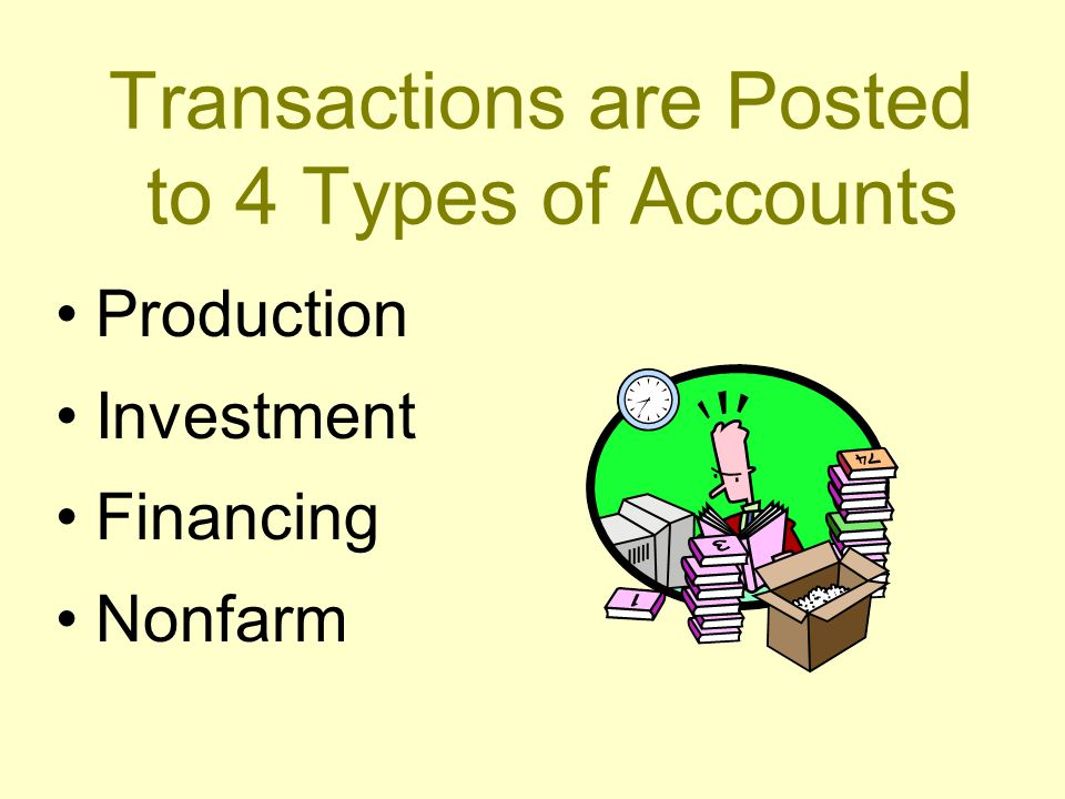 Transactions are Posted to 4 Types of Accounts Production Investment Financing Nonfarm