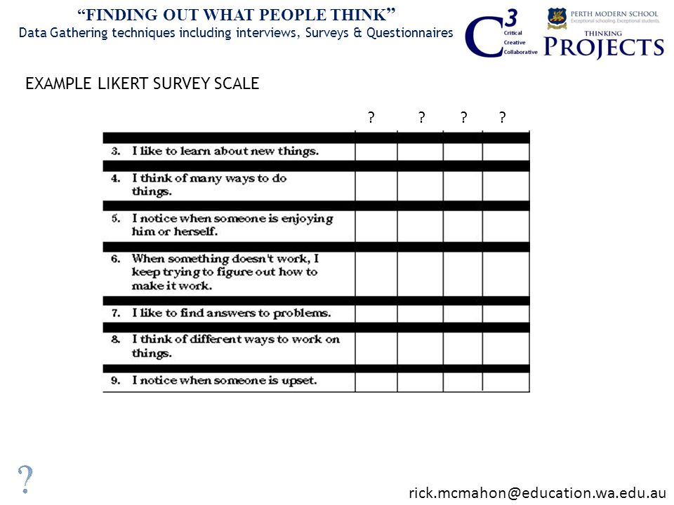EXAMPLE LIKERT SURVEY SCALE FINDING OUT WHAT PEOPLE THINK Data Gathering techniques including interviews, Surveys & Questionnaires .