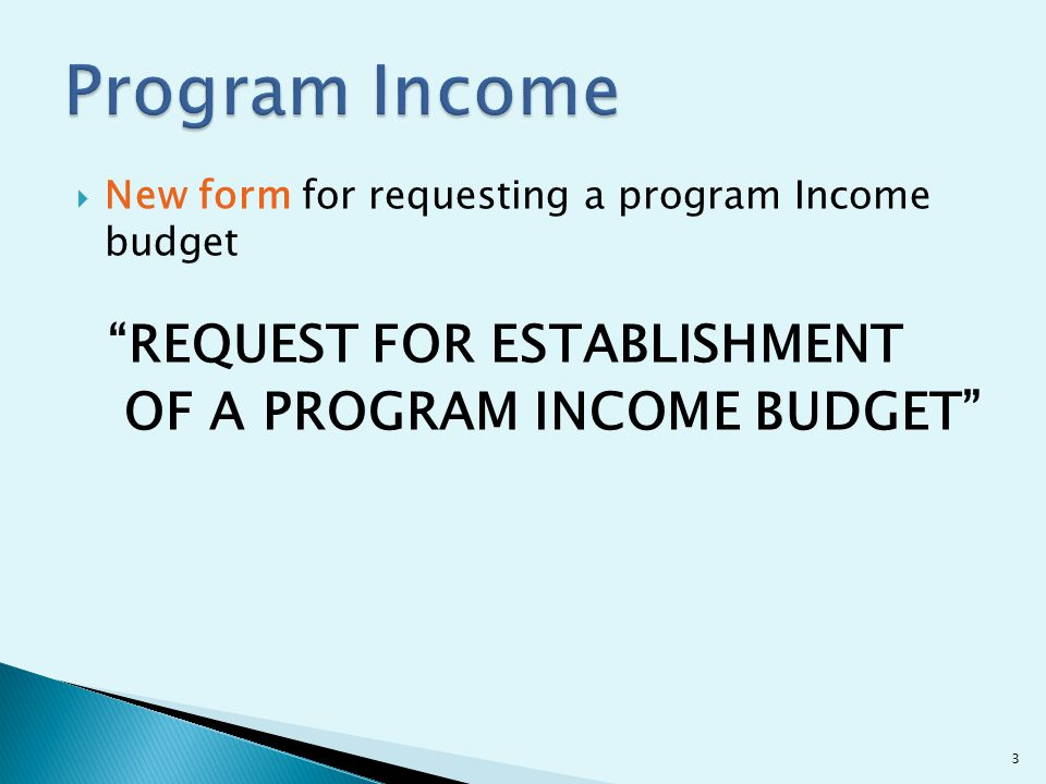  New form for requesting a program Income budget REQUEST FOR ESTABLISHMENT OF A PROGRAM INCOME BUDGET 3