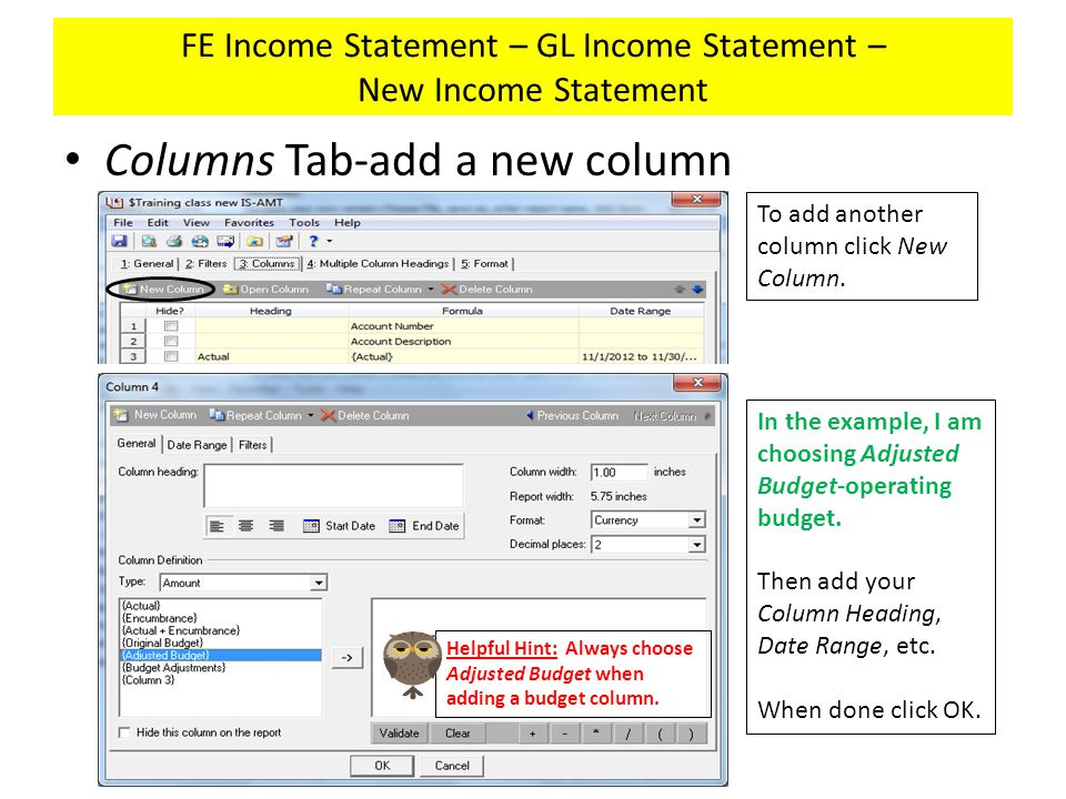 FE Income Statement – GL Income Statement – New Income Statement Columns Tab-add a new column To add another column click New Column.