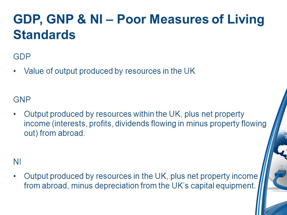 GDP, GNP & NI – Poor Measures of Living Standards GDP Value of output produced by resources in the UK GNP Output produced by resources within the UK, plus net property income (interests, profits, dividends flowing in minus property flowing out) from abroad.
