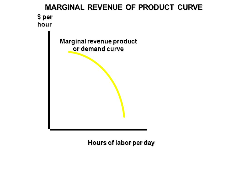 Marginal revenue product or demand curve $ per hour Hours of labor per day MARGINAL REVENUE OF PRODUCT CURVE