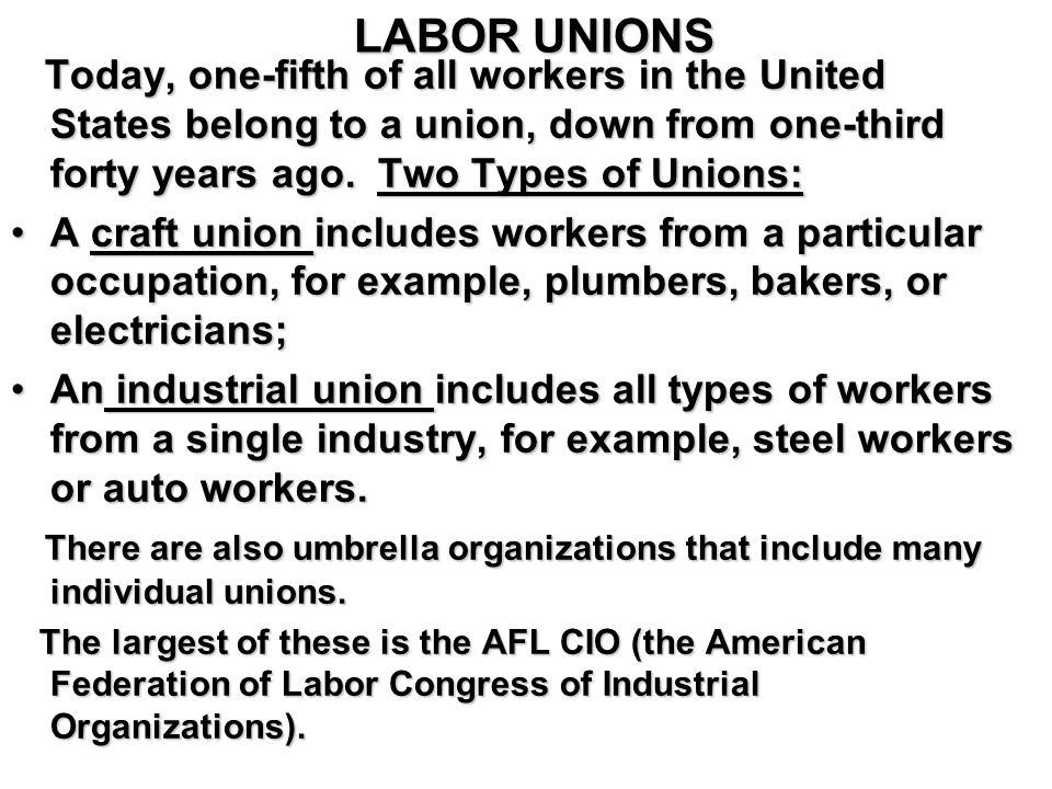 Today, one-fifth of all workers in the United States belong to a union, down from one-third forty years ago.