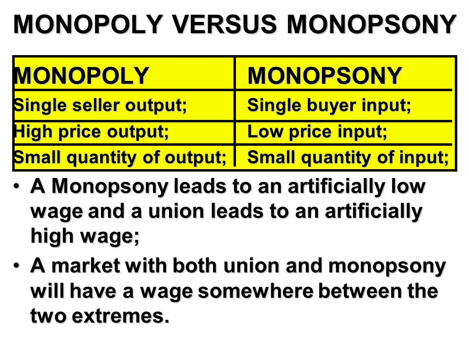 MONOPOLY VERSUS MONOPSONY MONOPOLYMONOPSONY Single seller output;Single buyer input; High price output;Low price input; Small quantity of output;Small quantity of input; A Monopsony leads to an artificially low wage and a union leads to an artificially high wage;A Monopsony leads to an artificially low wage and a union leads to an artificially high wage; A market with both union and monopsony will have a wage somewhere between the two extremes.A market with both union and monopsony will have a wage somewhere between the two extremes.