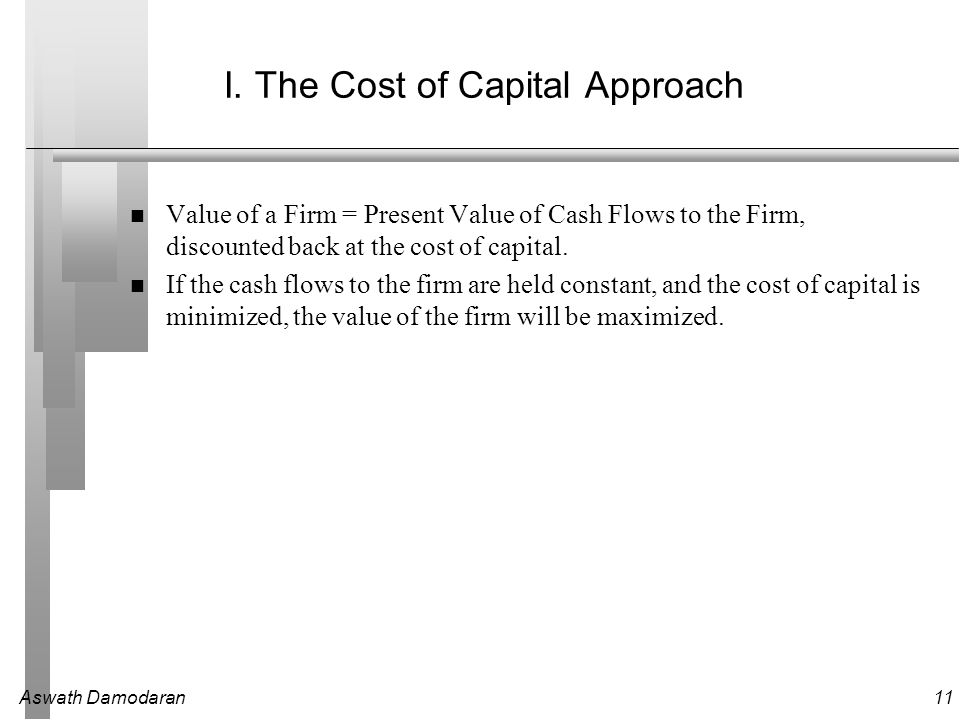Aswath Damodaran11 I. The Cost of Capital Approach Value of a Firm = Present Value of Cash Flows to the Firm, discounted back at the cost of capital.
