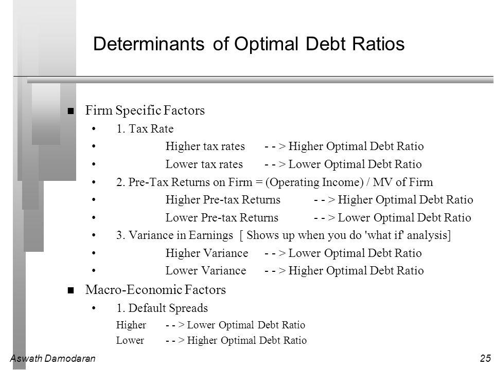 Aswath Damodaran25 Determinants of Optimal Debt Ratios Firm Specific Factors 1.