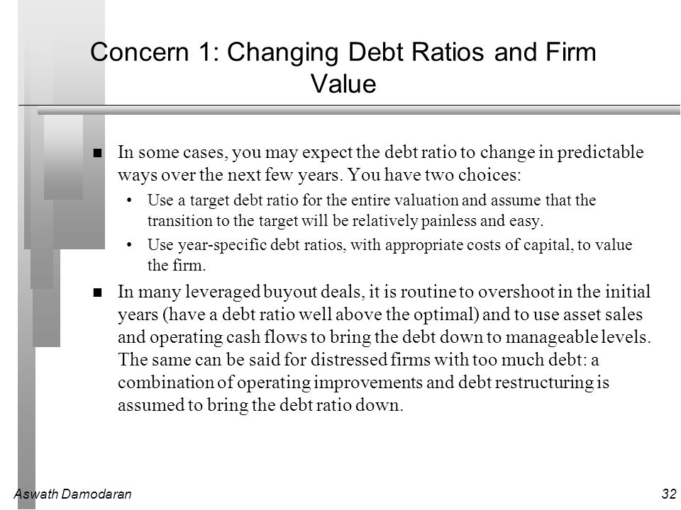 Aswath Damodaran32 Concern 1: Changing Debt Ratios and Firm Value In some cases, you may expect the debt ratio to change in predictable ways over the next few years.