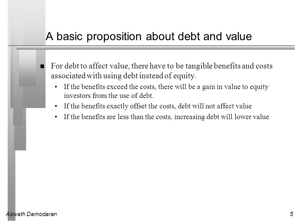 Aswath Damodaran5 A basic proposition about debt and value For debt to affect value, there have to be tangible benefits and costs associated with using debt instead of equity.