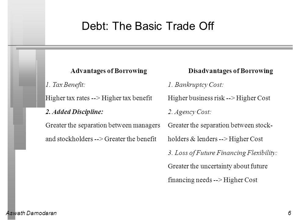 Aswath Damodaran6 Debt: The Basic Trade Off Advantages of BorrowingDisadvantages of Borrowing 1.