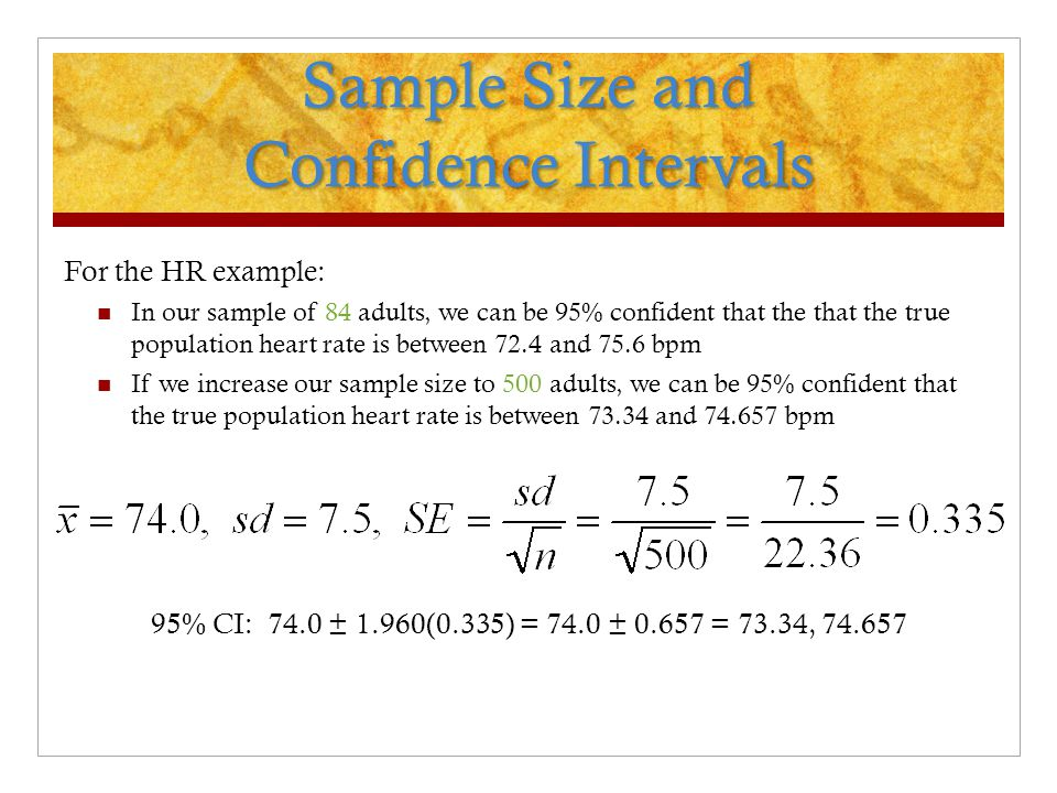 Sample Size and Confidence Intervals For the HR example: In our sample of 84 adults, we can be 95% confident that the that the true population heart rate is between 72.4 and 75.6 bpm If we increase our sample size to 500 adults, we can be 95% confident that the true population heart rate is between 73.34 and 74.657 bpm 95% CI: 74.0 ± 1.960(0.335) = 74.0 ± 0.657 = 73.34, 74.657