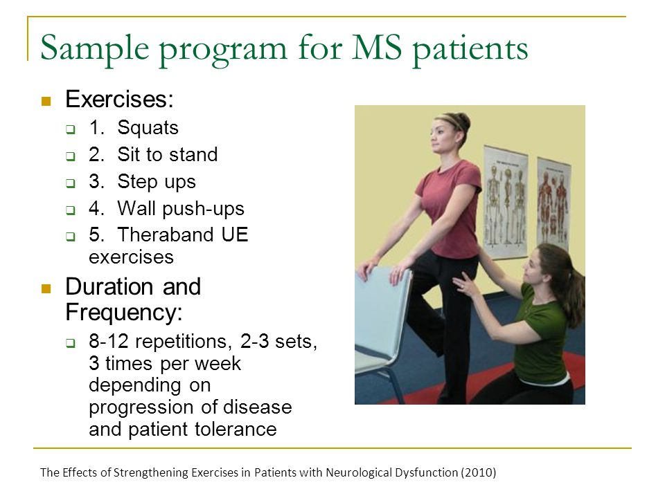 Sample program for MS patients Exercises:  1. Squats  2.