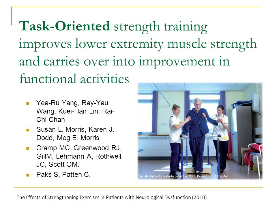Task-Oriented strength training improves lower extremity muscle strength and carries over into improvement in functional activities Yea-Ru Yang, Ray-Yau Wang, Kuei-Han Lin, Rai- Chi Chan Susan L.