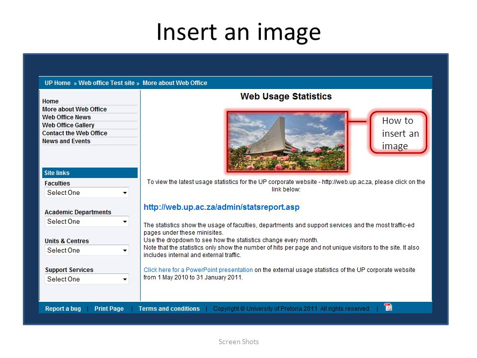 Insert an image Screen Shots How to insert an image