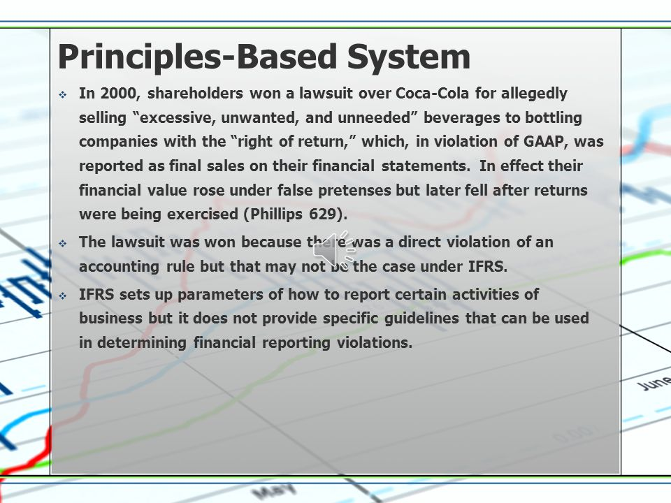 Principles-Based System  IFRS is a principles-based system that is open to many interpretations and therefore an increase of fraudulent financial rep