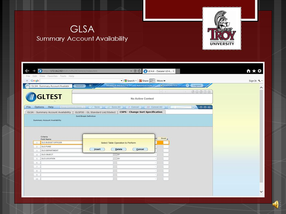 GLSA Summary Account Availability Detail to enter report sort specifications