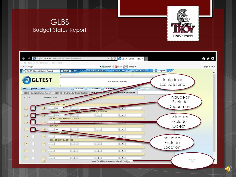 GLBS Budget Status Report Detail to enter report GL selections