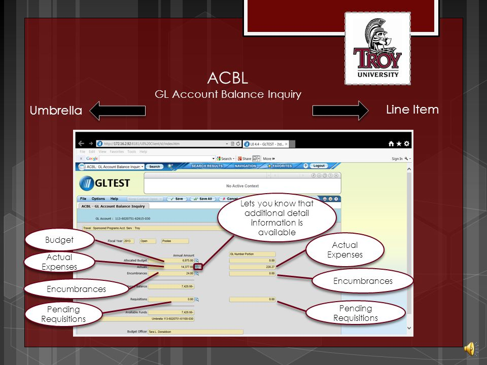 ACBL GL Account Balance Inquiry