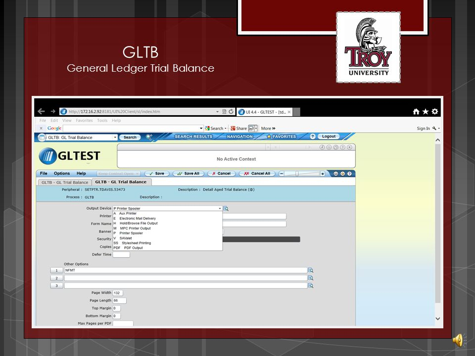 GLTB General Ledger Trial Balance Enter Yes to proceed