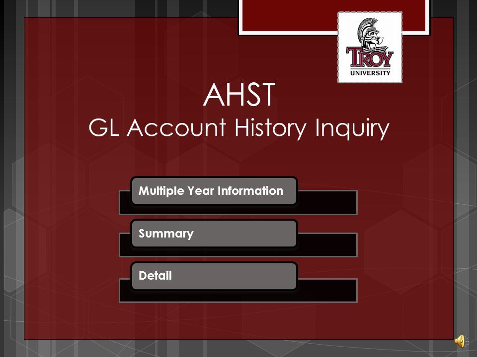 AHST GL Account History Inquiry