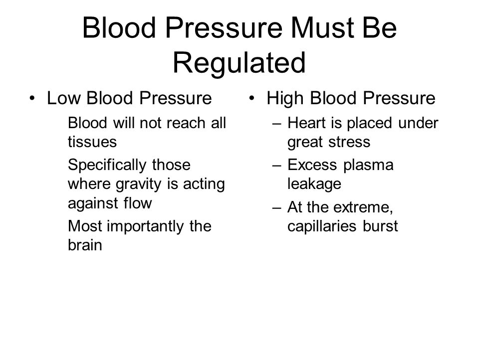 Blood Pressure Must Be Regulated Low Blood Pressure Blood will not reach all tissues Specifically those where gravity is acting against flow Most importantly the brain High Blood Pressure –Heart is placed under great stress –Excess plasma leakage –At the extreme, capillaries burst