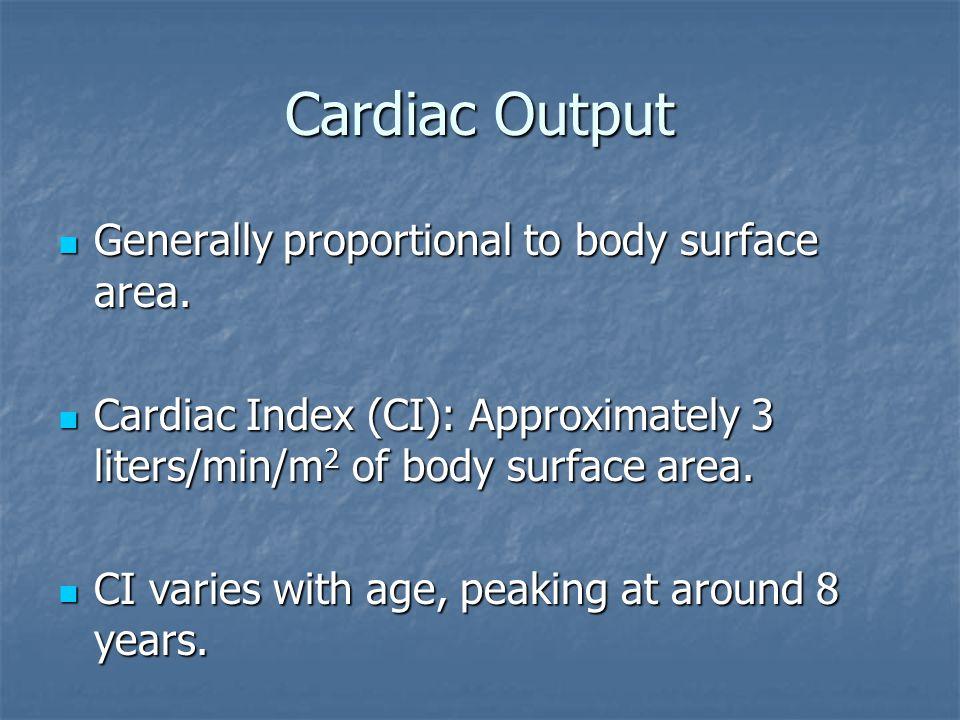 Cardiac Output Generally proportional to body surface area. Generally proportional to body surface area. Cardiac Index (CI): Approximately 3 liters/mi