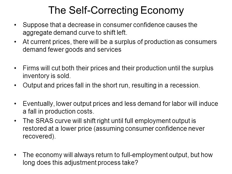 The Self-Correcting Economy Suppose that a decrease in consumer confidence causes the aggregate demand curve to shift left.