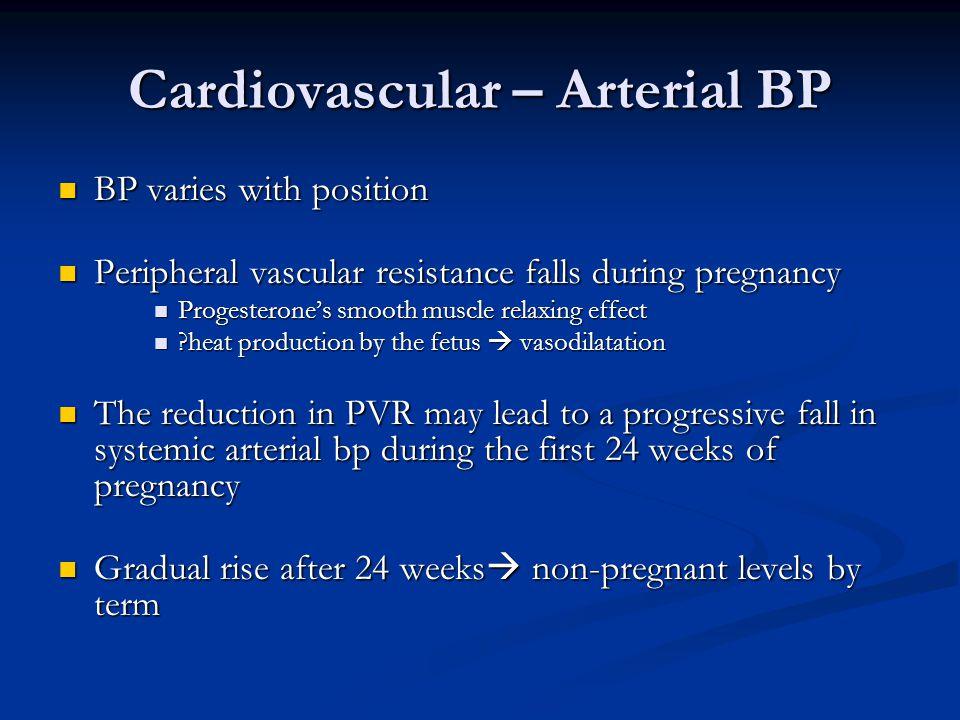 Cardiovascular – Arterial BP BP varies with position BP varies with position Peripheral vascular resistance falls during pregnancy Peripheral vascular