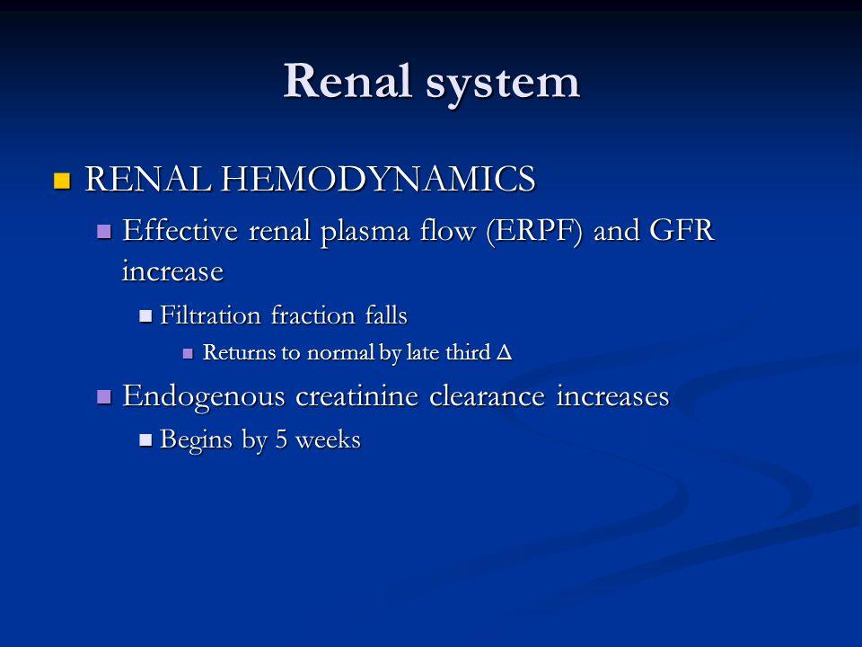 Renal system RENAL HEMODYNAMICS RENAL HEMODYNAMICS Effective renal plasma flow (ERPF) and GFR increase Effective renal plasma flow (ERPF) and GFR incr