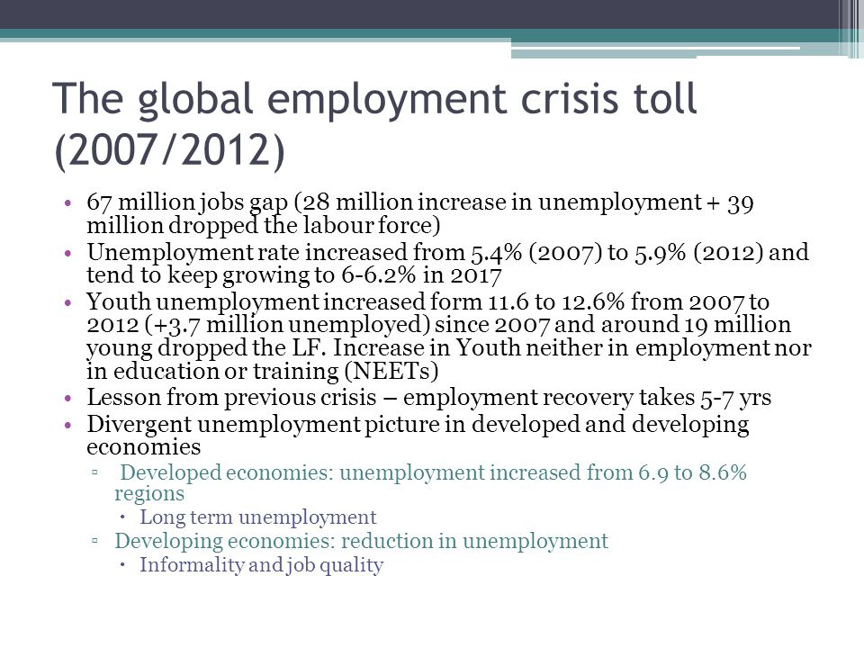 Surges in long term unemployment Major shifts in labour force participation mostly in developed economies - increases in discouraged workers, which worsens labour force participation rates that are already low Persistence of high shares of informal and precarious employment Labour income as share of national income has declined, reducing aggregate demand Austerity measures contribute further to the decrease in labour income share reducing household consumption and depressing aggregate demand Structural challenges – job unfriendly growth