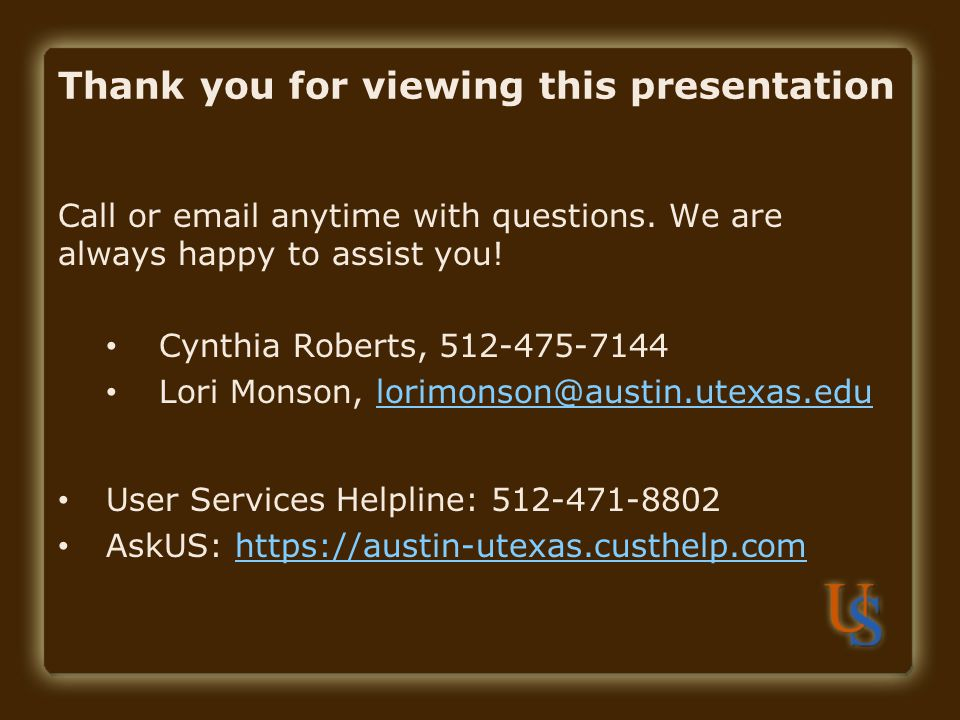 Thank you for viewing this presentation Call or  anytime with questions.