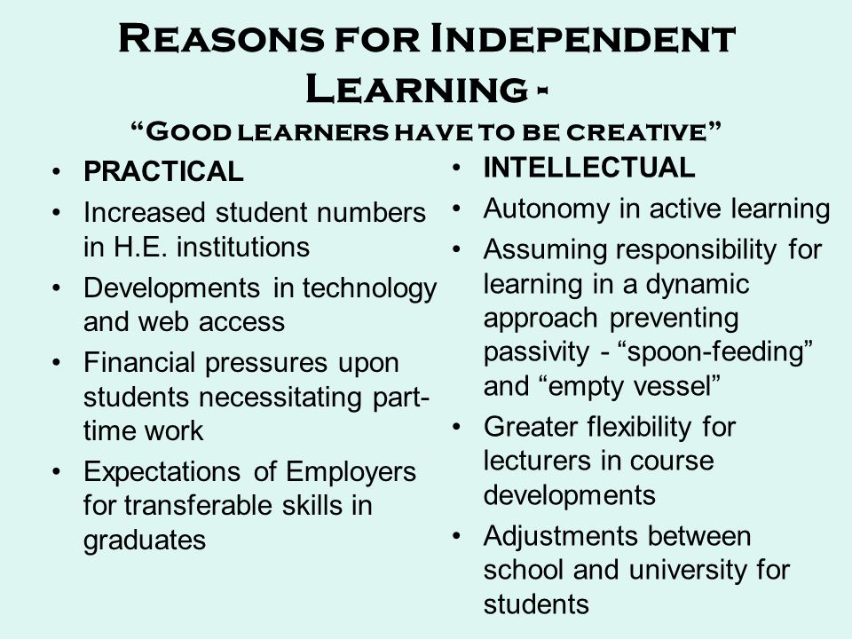 Reasons for Independent Learning - Good learners have to be creative PRACTICAL Increased student numbers in H.E.