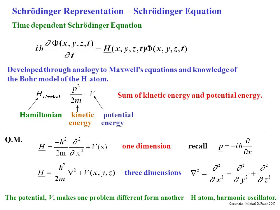 Getting the Time Independent Schrödinger Equation wavefunction If the energy is independent of time Try solution product of spatial function and time function Then independent of t independent of x, y, z divide through by Copyright – Michael D.