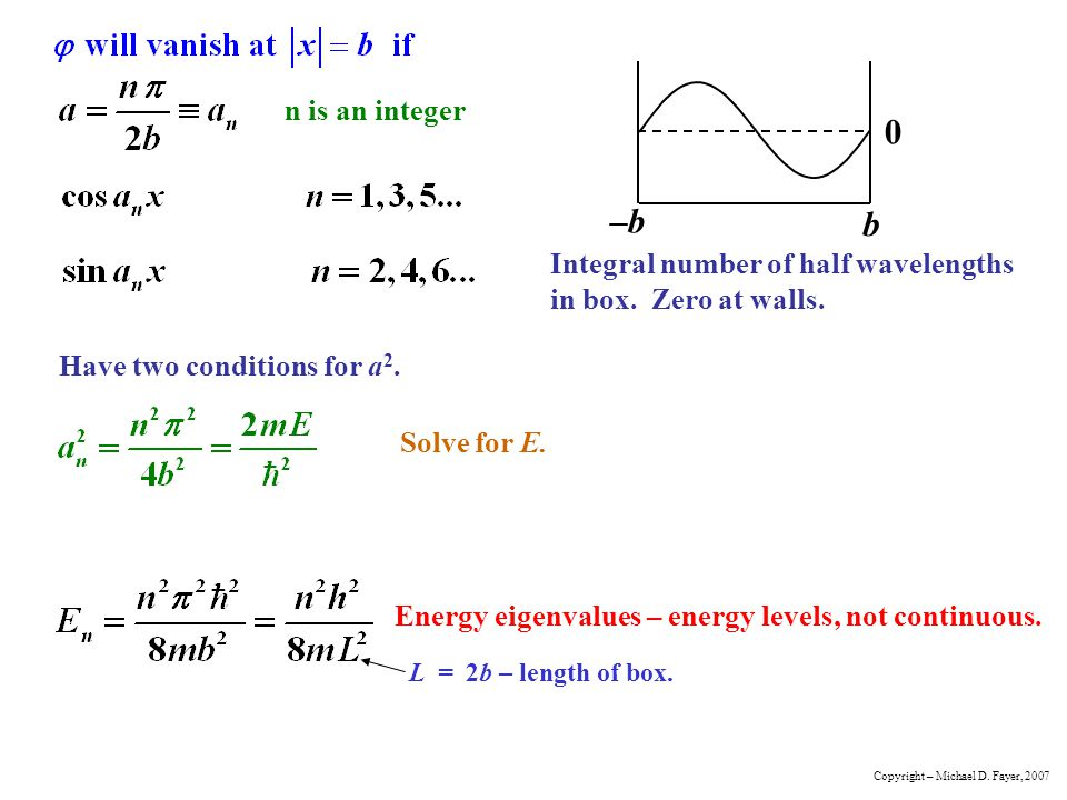 n is an integer Have two conditions for a 2. Solve for E. Energy eigenvalues – energy levels, not continuous. L = 2b – length of box. Integral number