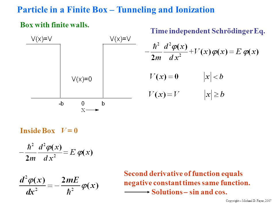 Particle in a Finite Box – Tunneling and Ionization Box with finite walls. Time independent Schrödinger Eq. Inside Box V = 0 Second derivative of func