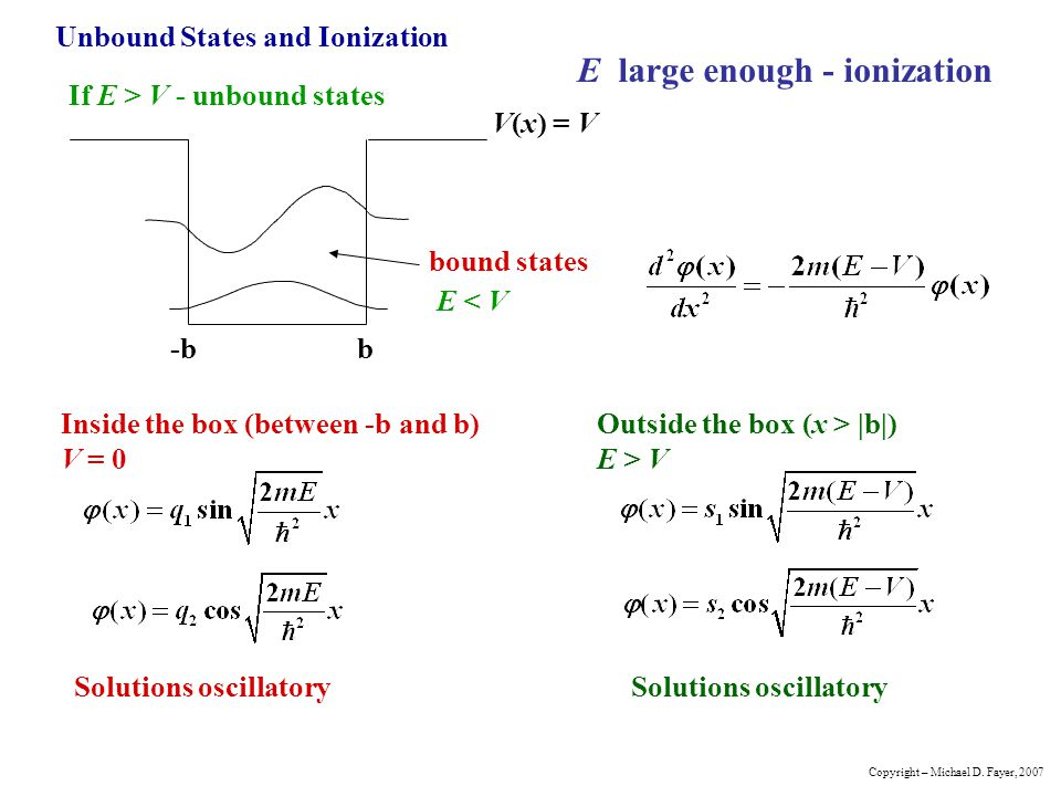 Unbound States and Ionization -bb bound states V(x) = V If E > V - unbound states E large enough - ionization E < V Inside the box (between -b and b)